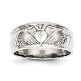 Ladies Polished Claddagh Ring 14k White Gold K5119
