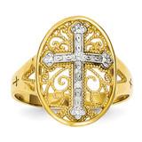 Diamond Filigree Cross Ring 14k Two-Tone Gold K5120