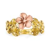 Diamond-cut Plumeria Flower Ring 14k Yellow & Rose Gold K5126
