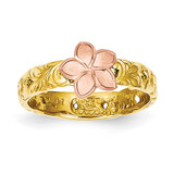 Plumeria Baby Ring 14k Two-tone Gold K5128