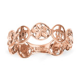Plumeria Flower & Turtle Ring 14k Rose Gold K5130 Size 7