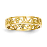 Ring Band 14k Gold Polished & Textured K5138