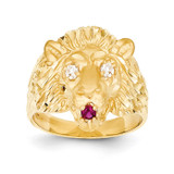 Lion with Synthetic Diamond Eyes and Red Synthetic Tongue Ring 14k Gold K5140
