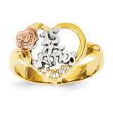 Rhodium with Synthetic Diamond 15 Anos Ring 14k Two-Tone Gold K642