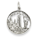 New York City in Disc Charm 14k White Gold Solid Polished K856