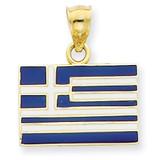 Enameled Greece Flag Pendant 14k Gold Solid K866
