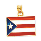 Enameled Puerto Rico Flag Pendant 14k Gold Solid K869