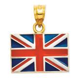 Solid Enameled United Kingdom Flag Pendant 14K Gold & Rhodium K870