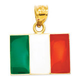 Enameled Italy Flag Pendant 14k Gold Solid K872