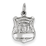 Police Badge Charm 14k White Gold K900