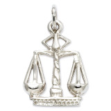 Polished Flat-Backed Small Scales of Justice Charm 14k White Gold K933