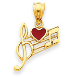 Music Scale with Red Enameled Heart Pendant 14k Gold K948