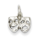 Solid Comedy Tragedy Charm 14k White Gold K954