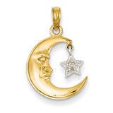 Polished Open-Backed Half Moon & Star Pendant 14k Two-Tone Gold K955