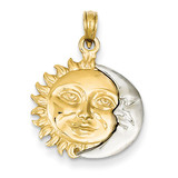 Solid Polished 3-Dimensional Sun & Moon Pendant 14k Two-Tone Gold K956