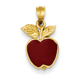 Red Enameled Apple Pendant 14k Gold Polished K974