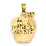 New York Skyline on Small Apple Pendant 14k Gold Solid K994