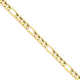 6mm Concave Open Figaro Chain 9 Inch 14k Gold LFG160-9