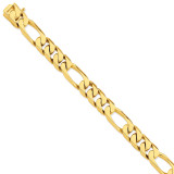 13mm Hand-polished Figaro Link Chain 9 Inch 14k Gold LK111-9