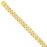 12.4mm Hand-polished Flat Beveled Curb Chain 9 Inch 14k Gold LK135-9