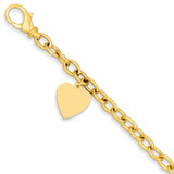 Link with Heart Charm Bracelet 7.5 Inch 14k Gold LK312-7.5