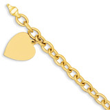 Link with Heart Charm Bracelet 7.5 Inch 14k Gold LK313-7.5