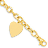 Link with Heart Charm Bracelet 7.5 Inch 14k Gold LK314-7.5