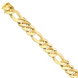16mm Fancy Heavy Figaro Link Chain 9 Inch 14k Gold LK322-9