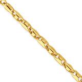 4mm Fancy Barrel Link Necklace 18 Inch 14k Gold LK750-18