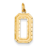 Casted Large Diamond Cut Number 0 Charm 14k Gold LN00