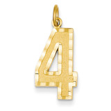 Casted Large Diamond Cut Number 4 Charm 14k Gold LN04