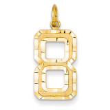 Casted Large Diamond Cut Number 8 Charm 14k Gold LN08