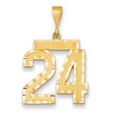 Large Diamond-cut Number 24 Charm 14k Gold LN24