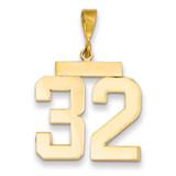 Large Polished Number 32 Charm 14k Gold LP32