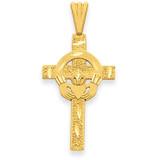 Claddagh Cross Pendant 14k Gold Polished M1338