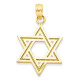 Star of David Charm 14k Gold Solid Satin M1594