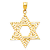 Satin Star of David Charm 14k Gold Solid Polished M1595