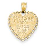 Reversible For My Daughter Heart Pendant 14k Gold M175