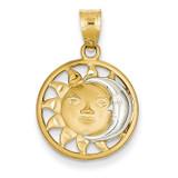 Sun & Moon Charm 14K Gold & Rhodium M2204