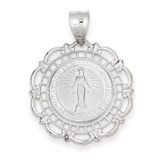 Blessed Mary Medal 14k White Gold M2298