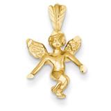 Satin & Diamond-cut Angel Charm 14k Gold M246