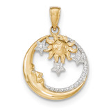 Rhodium Diamond-cut Moon, Stars, Sun Pendant 14k Gold M2867