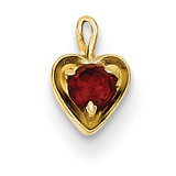 January Synthetic Birthstone Heart Charm 14k Gold M343