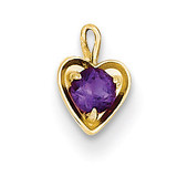 February Synthetic Birthstone Heart Charm 14k Gold M344