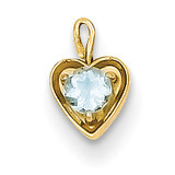 March Synthetic Birthstone Heart Charm 14k Gold M345