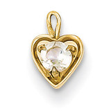 April Synthetic Birthstone Heart Charm 14k Gold M346