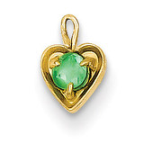 May Synthetic Birthstone Heart Charm 14k Gold M347