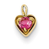 October Synthetic Birthstone Heart Charm 14k Gold M348