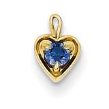 September Synthetic Birthstone Heart Charm 14k Gold M350