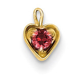 July Synthetic Birthstone Heart Charm 14k Gold M352